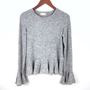 Altar'd State Gray Super Soft Bell Sleeve Top